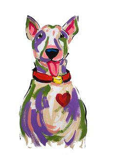 Dog Art / Dog Painting / Dog Portrait / Whimsical Dog / Custom Painting / Vibrant / Debby Carman / Faux Paw Productions by FauxPawProductions on Etsy Bull Terrier Funny, Fox Terrier, Pitbull Terrier, Watercolor Paintings Of Animals, Animal Paintings, Animal Drawings, Pet Drawings, Bird Paintings, Painting Art