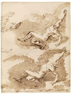 "José de Ribera, ""Tizio's studies"", Early 1630's. Pen and sepia watercolor on white paper. 'Istituto centrale per la grafica, Roma."