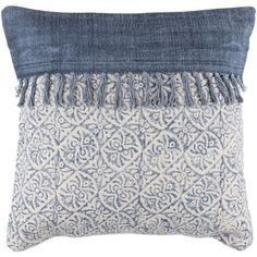 Overcast Fringe Indigo Blue Pillows - artisan flair and bohemian style