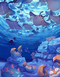Under the sea - Pokémon Pokemon Comics, All Pokemon, Pokemon Fan Art, Pokemon Games, Pokemon Fusion, Water Type Pokemon, Pokemon Backgrounds, Cute Pokemon Pictures, Cute Pokemon Wallpaper