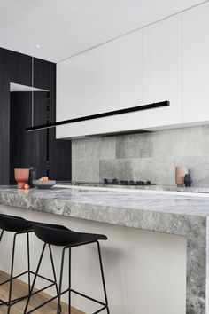 An integrated range hood in a contemporary grey, black and white kitchen Dark Counters, Beacon Lighting, Contemporary Kitchen Design, Wall Finishes, Neat And Tidy, Kitchen Cupboards, Kitchen Styling, Led, Furniture