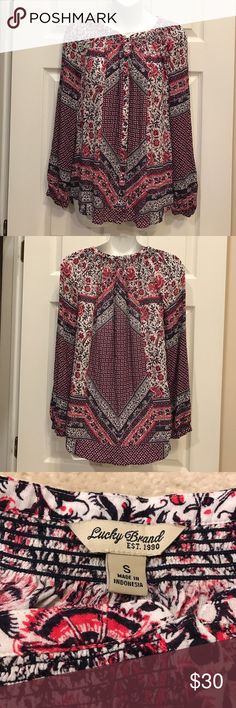 Lucky Brand Blouse Beautiful pattern! Excellent condition. Lucky Brand. Size small. Lucky Brand Tops Blouses