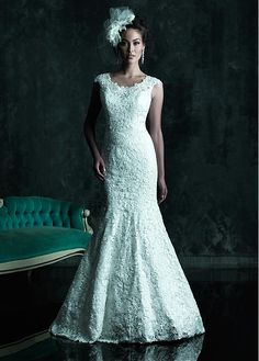 GLAMOROUS ALL-OVER LACE MERMAID JEWEL NECKLINE NATURAL WAISTLINE WEDDING DRESS IVORY WHITE LACE BRIDAL GOWN