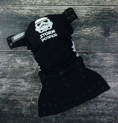 One size pocket / Storm Pooper embroidery / cloth diaper / snaps / Little Beasties / adjustable elastic & leg gussets / embroidered diaper