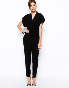 Image 1 ofASOS Jumpsuit With Tie Waist And Short Sleeves