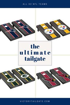 Officially licensed NFL football cornhole games. High quality products, proudly made in the USA. Shop cornhole boards, tumble towers and more at victorytailgate.com #cornhole #victorytailgate