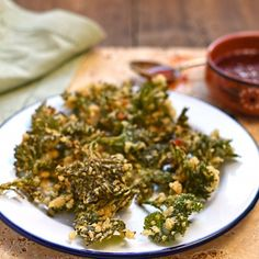 Nettle top fritters with chilli dip - A beautifully light, crisp, and utterly delicious treat.