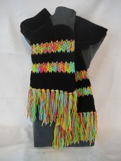 Ladies Black Green Yellow Scarf  Womans Red by Isabellascloset2010, $25.00