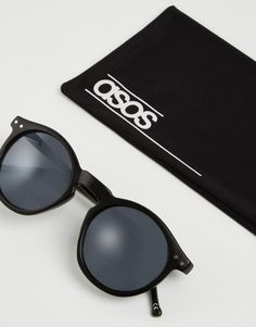 5f6cdeb6a32 ASOS Round Sunglasses In Black - Black Polarized Sunglasses