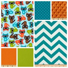 Custom  Baby Boy Bedding - Blanket, Sheet and Crib Skirt in Lime, Orange and Teal Racoons on Etsy, $175.00
