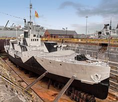 M33, a British M29-class Monitor, in dry dock at Portsmouth Historic Dockyard by Anguskirk, via Flickr