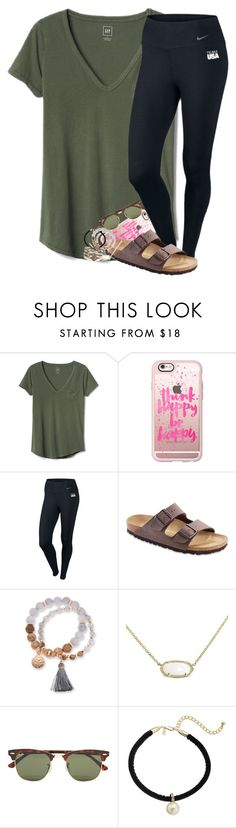 """""""tell me that I take your breath away"""" by legitmaddywill ❤ liked on Polyvore featuring Gap, Casetify, NIKE, Birkenstock, Kim Rogers, Kendra Scott, Ray-Ban and Kenneth Jay Lane"""