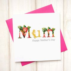Floral Mothers Day Card - Personalised Floral Mothers Day Card - Mummy Mothers Day Card - Mum Gifts - Mothers Day Nanny Card - Nanny Gift - Etsy - LetsDreambyChiChiMoi