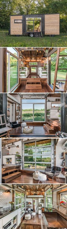 A modern 246 sq.ft. tiny house designed and built by Nashville, Tennessee-based New Frontier Tiny Homes. Shou Sugi Ban cedar siding contrasts beautifully against the natural red western cedar.  Inside, you'll find hardwood floors and a reclaimed barn wood ceiling.