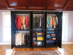 A fully enclosed wardrobe unit in their master bedroom with lots of organization inside. #closet