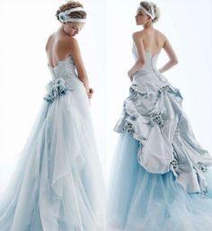 Topaz colored wedding dress for the unconventional bride #oliveandtopaz #wedding #bride