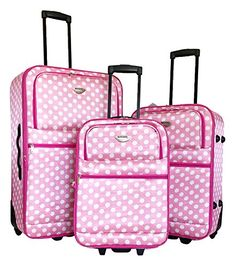 3pc Luggage Set Travel Bag Rolling Wheel Carryon Expandable Upright Pink Dots ** Details can be found by clicking on the image.