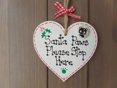 Christmas Santa Paws Cat Pet Wooden Heart Tree Decoration Gift Tag Plaque Sign | eBay