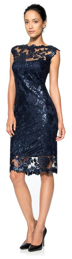Tadashi Shoji ● Paillette Embroidered Lace Sheath Dress