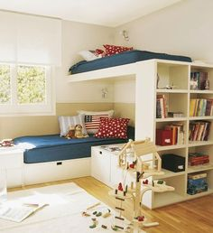 is there room for a toy box/storage at the end of S' bed? Love the shelving unit too!