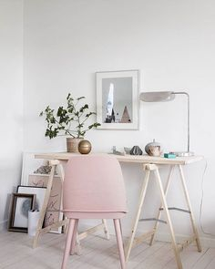 soft blush against stark white makes a high impact in a small space