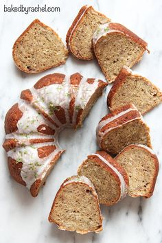 Moist banana bundt cake with sweetened coconut throughout and a tart lime glaze. Recipe from @Rachel {Baked by Rachel}