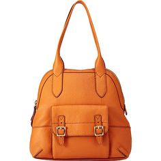 Fossil Tate Dome Satchel Light Orange Leather Handbags