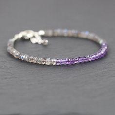 Amethyst & Labradorite Dainty Stacking Bracelet. Beaded bracelet in Sterling Silver or Gold Filled. Gemstone Jewelry. Bead Stack Bracelet