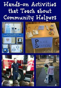 Love these ideas & hands-on activities that Teach about police officers, firefighters and other community helpers!