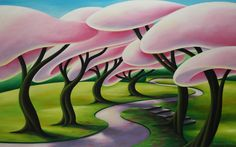 Step up to pink-Dana Irving I Love You All, Landscape Art, Art Sketches, Whimsical, Trees, Acrylic Paintings, Drawings, Sketching, Flowers