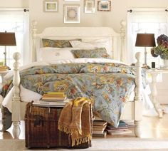 I might paint our bed white one day. From http://www.potterybarn.com/products/caroline-wood-bed/?pkey=ccaroline-bedroom