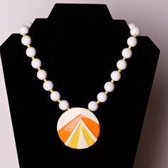 Vintage Napier White Bead and Orange and by TwiceBakedVintage, $21.00