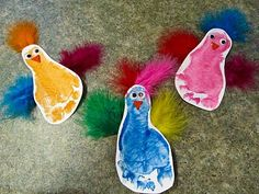 footprint birds made into magnets for the fridge