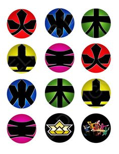 "Printable Cupcake Toppers/Labels/Stickers: Power Rangers 2"" Circle on Etsy, $6.00"