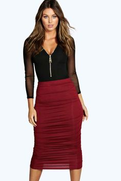 667ba7a2a Steph Rouched Side Jersey Midi Skirt at boohoo.com Shopping Lists, Boohoo,  Midi