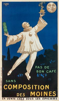 Poster by P.Hohr, ca. 1930, Composition des Moines. #Pierrot