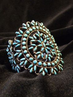 bracelet cuff - vintage sterling and turquoise