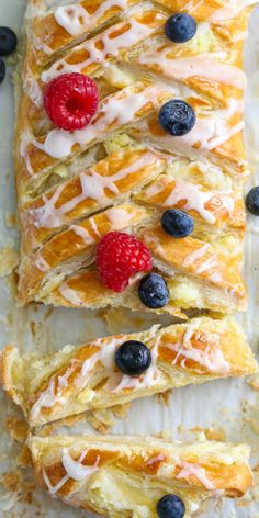 This Easy Cheese Danish Pastry is so flaky and creamy. You'll love the sweet tanginess of the filling and the delicious crust drizzled with icing. Easy Pastry Recipes, Baking Recipes, Sweet Recipes, Pastries Recipes, Best Breakfast Recipes, Brunch Recipes, Dessert Recipes, Breakfast Pastries, Sweet Pastries