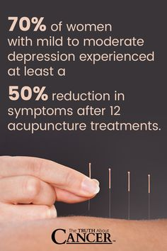 If you are dealing with depression, we highly recommend trying acupuncture. 70% of women with mild to moderate depression experienced at least a 50% reduction in symptoms after 12 acupuncture treatments. Click through to find out more as Ty Bollinger discusses about immediate acupuncture benefits for cancer patients. Increased appetite is one. Please re-pin. Together we'll empower the world with life-saving knowledge!