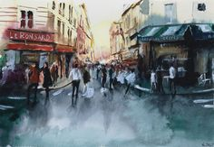 Watercolor / Aquarelle  – La foule. By Nicolas Jolly. #drawing #watercolor #painting #art
