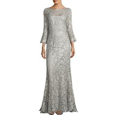 Teri Jon by Rickie Freeman Women's Metallic Lace Gown (60.605 RUB) ❤ liked on Polyvore featuring dresses, gowns, apparel & accessories, lace gown, white lace gown, lace fit-and-flare dresses, white lace dress and lace evening gowns