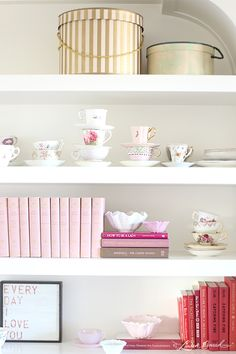 gorgeous shelves in Lauren Conrad's home office