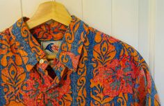Vintage Men's Hawaiian Shirt - Nui Nalu Tiki Aloha Pullover Red Blue  Print - Made in Hawaii - Extra Large XL - 1980s 1990s by ShipyardMillies on Etsy