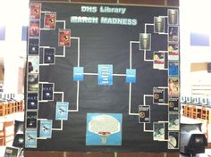"We decided to do a ""March Madness"" book tournament at my school, basing our ""Sweet Sixteen"" on the top circulating books for the calendar year, February 2012 – February 2013.  Our sixteen titles were seeded based on circulation statistics form Destiny"