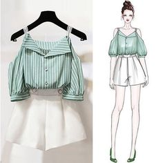 Women two piece set top + shorts colour-green + white size-small to No cod Payment mode is banking or paytm Kpop Fashion Outfits, Girls Fashion Clothes, Korean Outfits, Girly Outfits, Cute Casual Outfits, Pretty Outfits, Fashion Drawing Dresses, Fashion Illustration Dresses, Fashion Dresses