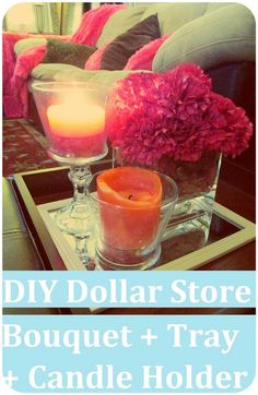 Flower Bouquet + Candle Holder + Tray with Items from Dollar Tree