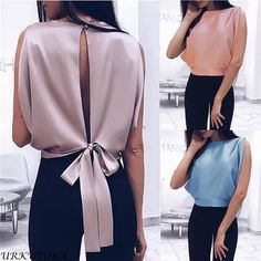Women Blouse 2019 Spring Summer Sexy Tops Bowknot Shirts Casual Loose Plus Size Blusas Tie Blouse, Sleeveless Blouse, Sexy Blouse, Look Fashion, Fashion Outfits, Fashion Women, Cheap Fashion, Modest Fashion, Fashion Online