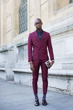Maroon suit & polka dot socks