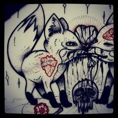 #fox #foxes #draw #drawing #heart #love #skull #drawings #flash #flashart #bones #tattoos #art #ink #inked #tattooflash