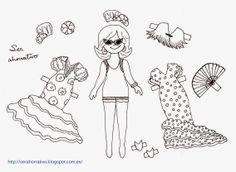 Recortables de flamencas para niñas Crafts For Kids, Sketches, Art, Dolls, Flamenco, Blue Prints, Colors, Crafts, Outfits